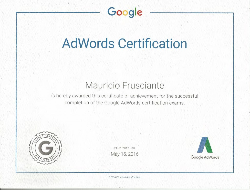 Internet marketing certifications mauricio frusciante miami aventura google adwords certification mauricio frusciante miami aventura xflitez Images