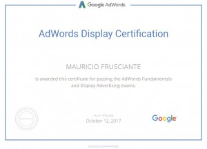 Google Adwords Display Certification-Mauricio Frusciante-Miami-Florida-2017