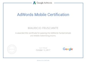 Google Adwords Mobile Certification-Mauricio Frusciante-Miami-Florida