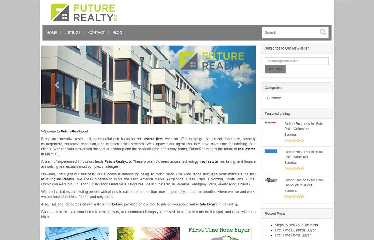 Ecommerce Website-FutureRealty-Miami-Fl
