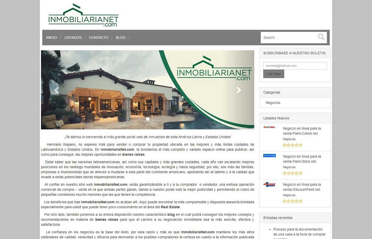 Ecommerce Website-Inmobiliarianet-Miami-Fl