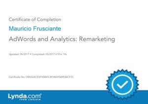 Adwords Analytics Remarketing Certificate-Mauricio Frusciante-Miami-Aventura-Fort Lauderdale