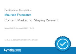 Content Marketing-Staying Relevant Certificate-Mauricio Frusciante-Miami-Aventura-Fort Lauderdale