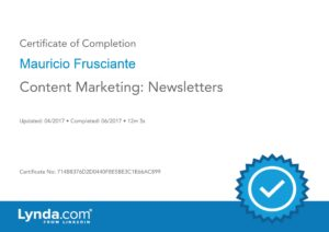 Content Marketing Newsletters Certificate-Mauricio Frusciante-Miami-FL