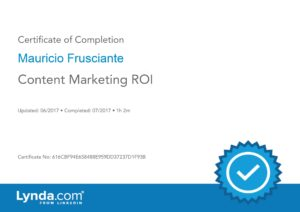 Content Marketing ROI Certificate-Mauricio Frusciante-Miami-FL
