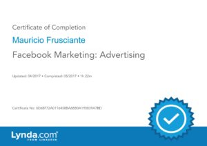 Facebook Marketing Advertising Certificate-Mauricio Frusciante-Miami-Aventura-Fort Lauderdale
