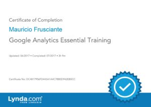 Google Analytics Essential Training Certificate-Mauricio Frusciante-Miami-FL