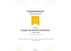 Google Adwords Search Certification-Mauricio Frusciante-Miami-Florida-2020