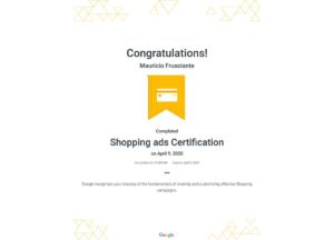Google Adwords Shopping Certification-Mauricio Frusciante-Miami-Florida-2020