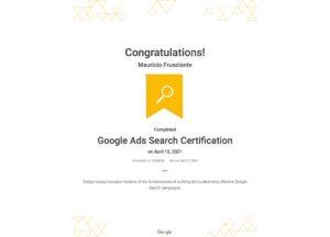 Google Adwords-Search Certification-Mauricio Frusciante-Miami-Florida-2021